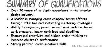 skills and qualifications resume qualifications examples resume summary of qualifications