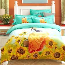 turquoise and yellow bedding orange yellow and turquoise sunflower and girl print rustic style princess themed