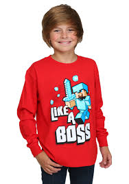 Boys Minecraft Like a Boss Long Sleeve T-Shirt