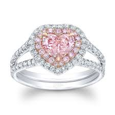 uneek heart shaped fancy orange pink diamond ring with kaboo split upper shank and two tone double halo in platinum and 18k rose gold