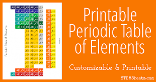 Printable Periodic Table Of Elements With Names Printable Periodic Table Of Elements Stem Sheets