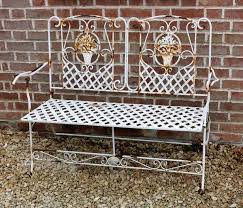 rustic french metal garden bench