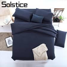 solstice home textile solid color dark navy blue bedding set boy kid teen girl linen duvet cover pillowcase bed flat sheet designer comforter sets