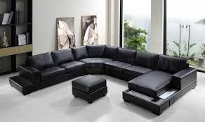 brown leather sectional couches. Fresh Modern Black Leather Sectional Couches On White Floor Matched With Wall For Living Room Brown