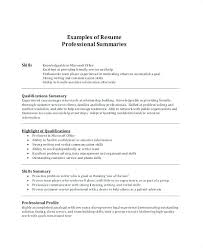 Profile Examples Resume Resume Overview Examples Example Resume