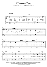 A Thousand Years Sheet Music Christina Perri A Thousand Years Sheet Music Notes Chords Download Printable Beginner Piano Sku 119974