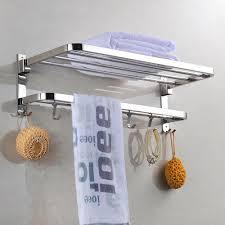 wall mounted towel rack rail holder storage shelf 4 sliding hooks 304 stainless steel chrome home