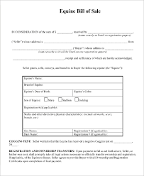 Equine Bill Of Sales 9 Bill Of Sale Samples Pdf Word