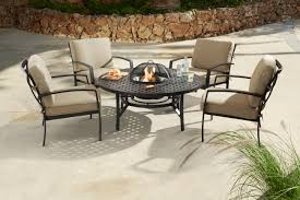 image of 2018 jamie oliver contemporary 4 seater fire pit set bronze biscuit