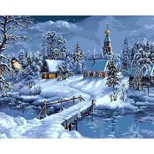 paysage d hiver bricolage peinture à l le par numéro paysage de neige impression d art toile peinture 40x50cm sans cadre