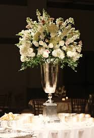 blush roses, white roses, hydrangea and snapdragon centerpiece | silver urn  arrangement, large