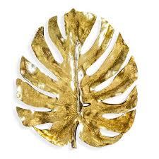 metallic gold palm leaf wall art 48cm