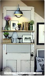 add shelves to an old door for a cool display in your home