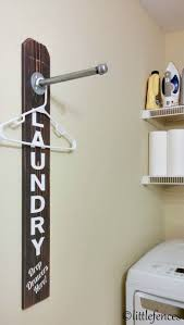 Laundry Room Sign, Laundry Room Organization, Clothing Rack, Wood Laundry  Sign, Pipe Rack, Clothes Hanger, Rustic Customizable Sign