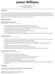 Business Resume Business Analyst Resume Sample ResumeLift 37