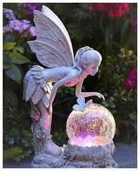 garden statue fairy with globe solar
