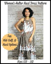 Women S Halter Maxi Top Dress Pdf Sewing Pattern By Ellie And Mac