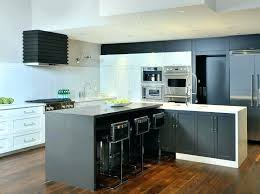 amazing kitchen features light grey upper cabinets and dark brown lower