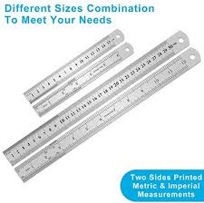 <b>2PCS Metal</b> Ruler, Steel Ruler with Inch and Metric, Stainless Steel ...