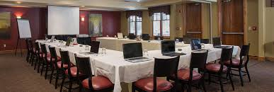 spruce meeting room at lodges at deer valley set up for a meeting or presentation
