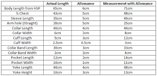 Measurement Calculation Chart Fabric Consumption Calculation For Woven Shirt