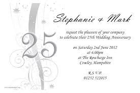 25th wedding anniversary invitation cards marriage