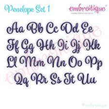penelope set 1 calligraphy script monogram alphabet font for machine embroidery