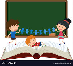border template with kids and book vector image