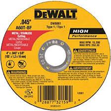 DEWALT DW8061 4-Inch by .045-Inch by <b>5/8</b>-Inch A60T Abrasive ...