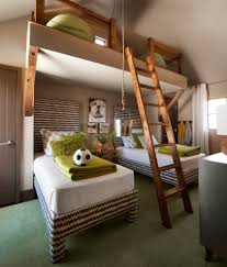 transitional kids loft with loft ladder bedroom beach style and ...