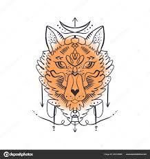 алхимический символ Moonchild красивая тотем волк лиса акварель фон
