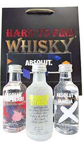 absolut 3 x flavoured miniatures gift set hard to find whisky edition vodka