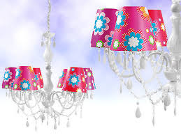 large white 6 arm gypsy chandelier with funky bright shades electric fitting uk