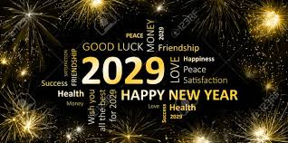 Black Golden New Year Card With Happy New Year 2029 Stock Photo