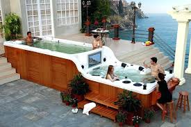 pool hot tub combo above ground pool spa combo round designs plunge pool hot tub combo
