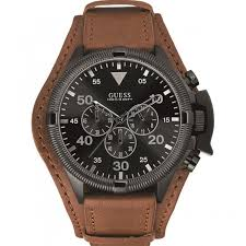 guess men s rover brown cuff watch black dial w0480g2 guess men s rover brown cuff watch black dial