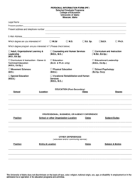 basic personal information form fillable online webpages uidaho personal information form pif