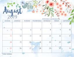 August Calandar Blank August 2019 Calendar Printable On We Heart It