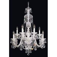 schonbek sterling silver 12 light clear heritage handcut crystal chandelier 29w x 38h x 29d