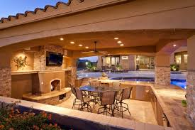 Viking Outdoor Kitchen Stone Fireplace Marble Countertop Pool Chairs Dining  Table Stove Cabinets Island Drawers Ceiling