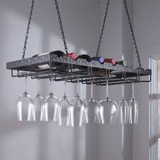 hanging wine glass rack enthusiast 13 3 4 in w x 2 h 26 d metal