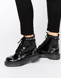 t u k anarchic stud lace up chunky leather flat ankle boots