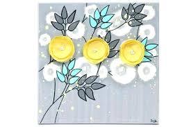 wall arts grey and yellow wall art gray aqua canvas painting of poppy flowers small black