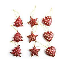 9 Stück Rot Grün Weiß Weihnachtsanhänger 5 Cm Scheppernd Baum Stern Herz Metall Weihnachts Deko Zum Aufhängen Christbaumschmuck Baumschmuck Vintage