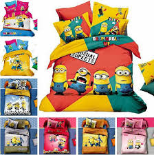 cute cartoon character minions kids bedding set cotton comforter sets quilt cover pillowcase bed sheets for queen size beds queen size duvet cover children