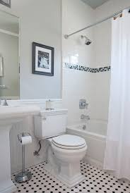 vintage bathroom example of a mid sized classic kids tub shower combo design in san francisco awesome black white