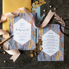 Thanksgiving Invites Paper Leaf Thanksgiving Invitation Menu Lia Griffith