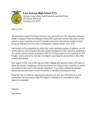 Letter Sponsorship Awesome National FFA Convention Sponsorship Letter By East Jackson High FFA