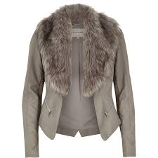 river island waterfall coat with faux fur collar black women coats