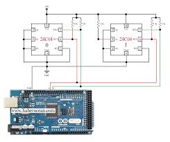 circuit to control two c ics through single bus system using  circuit to control two 24c04 ics through single bus system using arduino mega more at